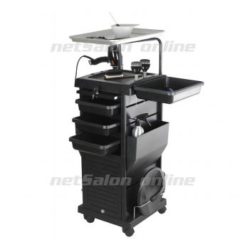 Black Salon Hairdresser Drawers Beauty Storage Trolley Colouring Hair Spa Roller Cart